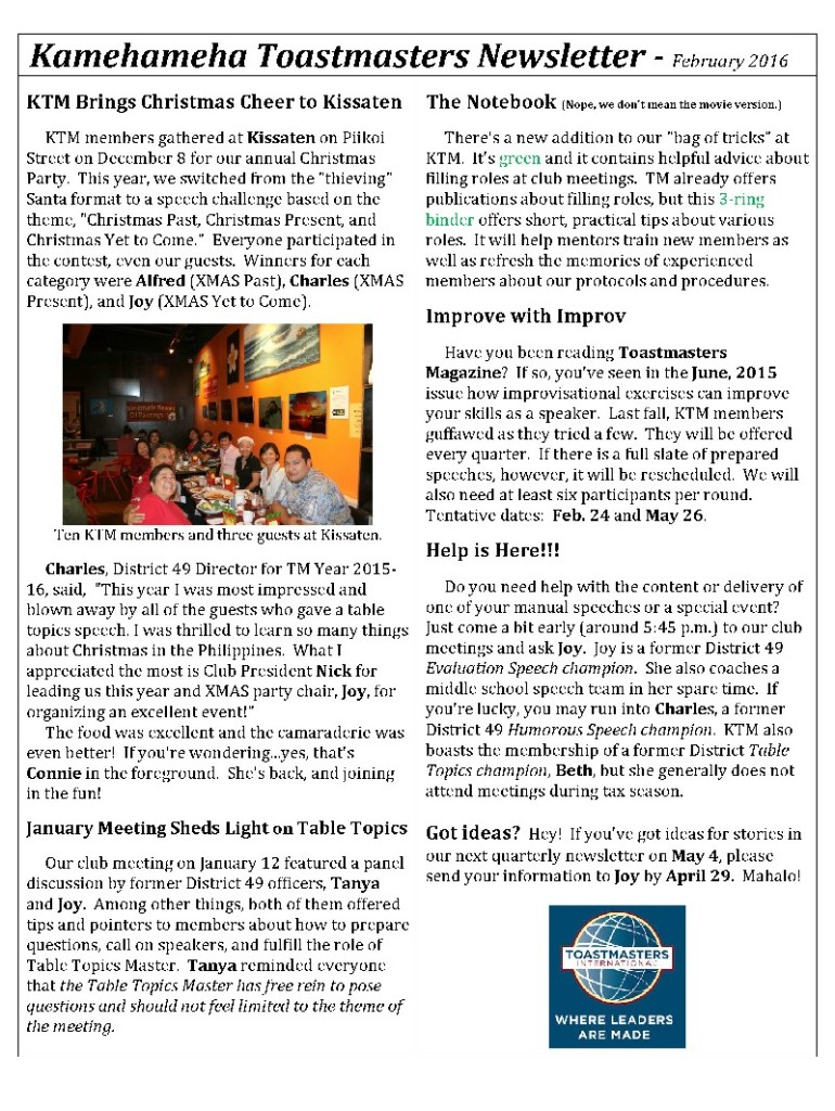 Kamehameha Toastmasters Newsletter