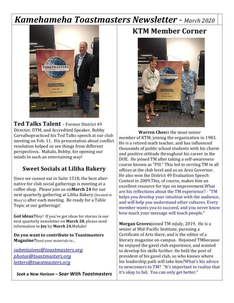 Kamehameha Toastmasters Spring 2020 Newsletter
